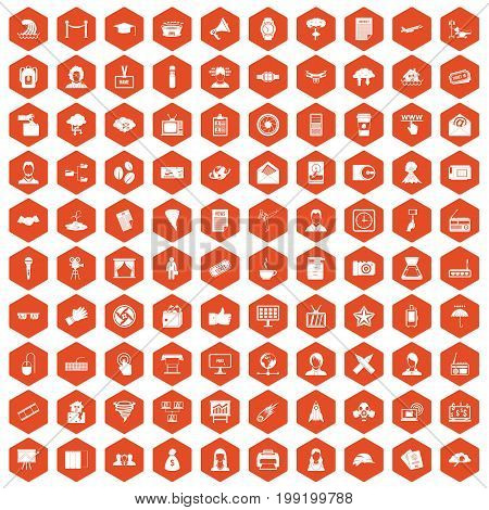 100 journalist icons set in orange hexagon isolated vector illustration