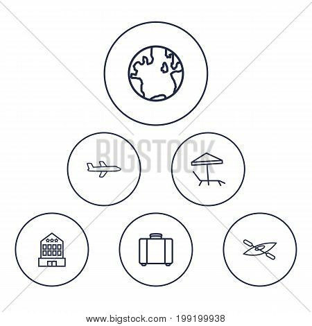 Collection Of Suitcase, Parasol, Globe And Other Elements.  Set Of 6 Travel Outline Icons Set.