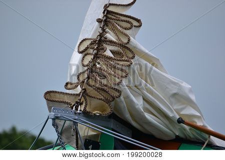 The sail of an old sailing ship. Skutsjesilen in Friesland, Holland