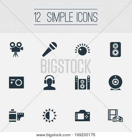 Elements Photo Apparatus, Negative Roll, Home Theater And Other Synonyms Headphone, Brightness And Cam.  Vector Illustration Set Of Simple Multi Icons.