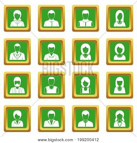 Infographic design parts icons set in green color isolated vector illustration for web and any design