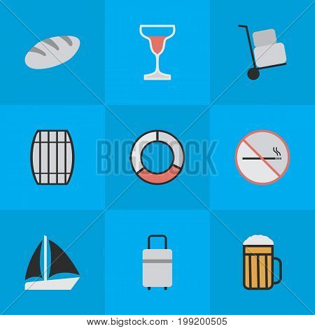 Elements Wine, Cask, Schooner And Other Synonyms Pub, Boat And Cocktail.  Vector Illustration Set Of Simple Relax Icons.