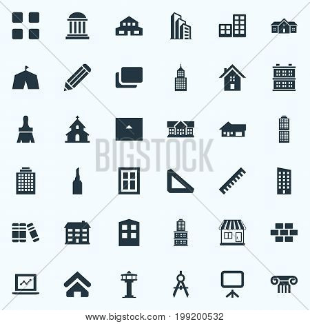 Elements Stone, Dispatcher Cabin, Farm And Other Synonyms Bookshelf, Ancient And Control.  Vector Illustration Set Of Simple Structure Icons.