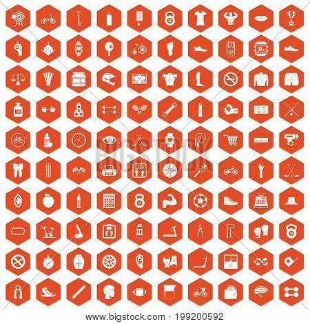 100 kettlebell icons set in orange hexagon isolated vector illustration
