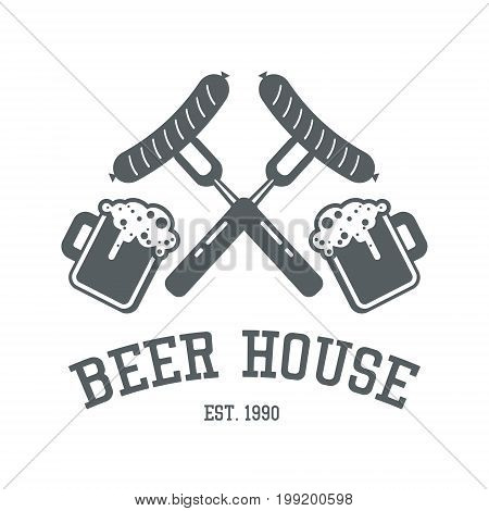 Beer House Logo Design In Monochrome Colors. Bar Or Pub Label Template With Forks And Sausages And M