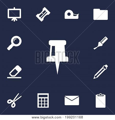 Collection Of Folder, Highlighter, Zoom Glasses And Other Elements.  Set Of 13 Tools Icons Set.