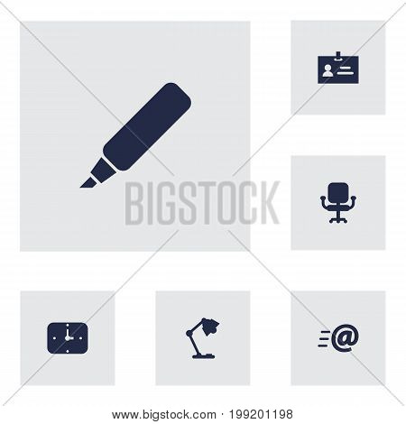 Collection Of Label, Illuminator, Data And Other Elements.  Set Of 6 Office Icons Set.
