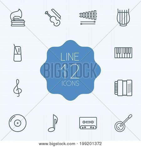 Collection Of Record, Harmonica, Musical Sign And Other Elements.  Set Of 12 Music Outline Icons Set.