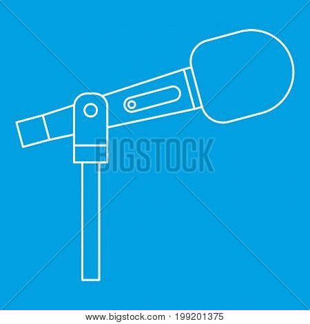Stage microphone icon blue outline style isolated vector illustration. Thin line sign
