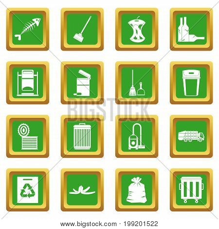Garbage thing icons set in green color isolated vector illustration for web and any design