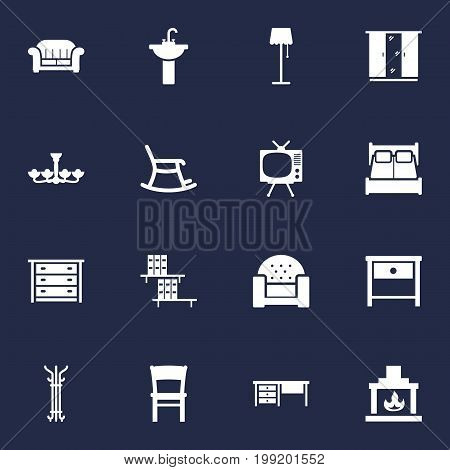 Collection Of Stool, Worktop, Couch And Other Elements.  Set Of 16 Situation Icons Set.