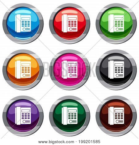 Office business keypad phone set icon isolated on white. 9 icon collection vector illustration