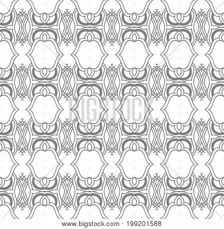 Seamless Abstract Hand Drawn Pattern. Square Monochrome Background. Gray Wallpaper