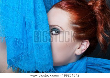 Mysterious Redhead Girl With Smokey Eyes
