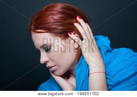 Attractive And Delicate Redhead Woman With Scarf
