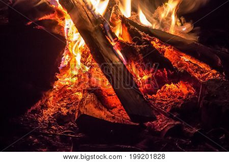 A Big Campfire In The Night. Burning Wood On Fire