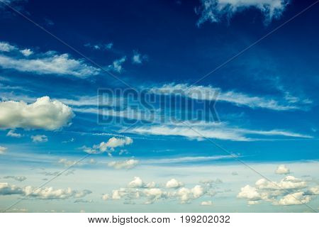Massive Clouds In The Blue Sky Background