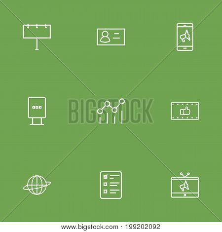Collection Of Brand Awareness, Ad Banner, Tv Elements.  Set Of 9 Commercial Outline Icons Set.