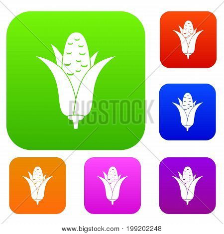 Corncob set icon in different colors isolated vector illustration. Premium collection