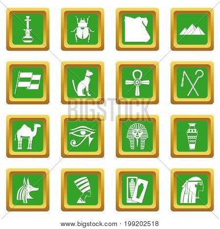 Egypt travel items icons set in green color isolated vector illustration for web and any design