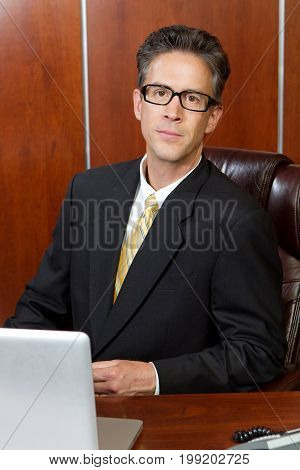 Businessman working on his computer in his office.