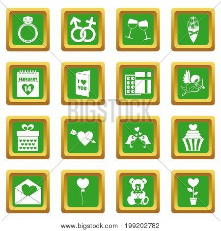Saint Valentine icoins set. Simple illustration of 16 Saint Valentine vector icons set in green color isolated vector illustration for web and any design