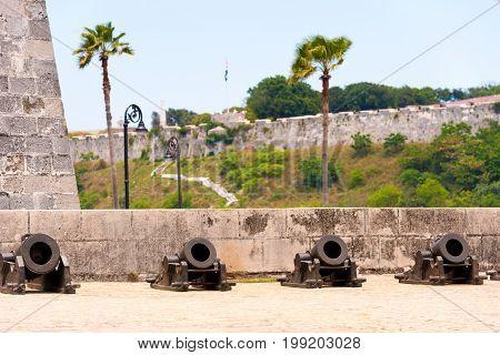 Castillo De La Real Fuerza, Havana, Cuba. Copy Space.