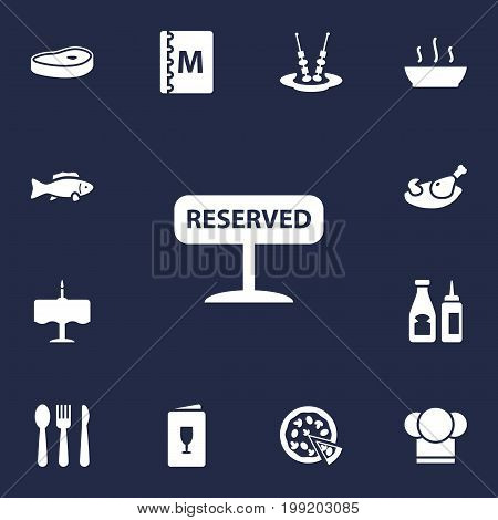 Collection Of Chef, Book, Tuna And Other Elements.  Set Of 13 Cafe Icons Set.