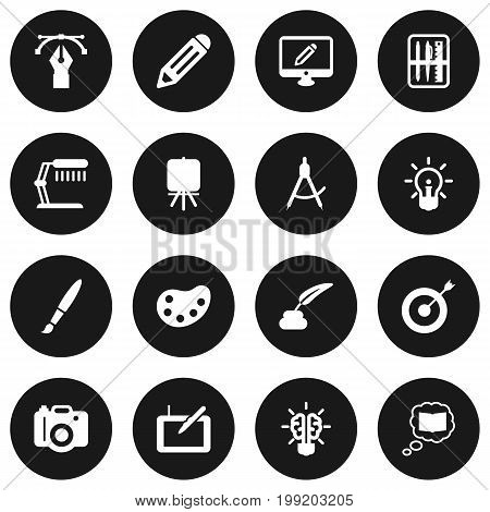 Collection Of Gadget, Screen, Pen And Other Elements.  Set Of 16 Constructive Icons Set.