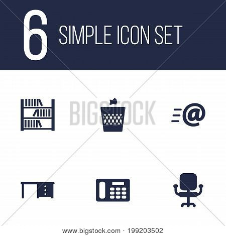 Collection Of Urn, Book, Message And Other Elements.  Set Of 6 Office Icons Set.