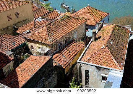 Old red clay tiled roofs of Porto, Portugal