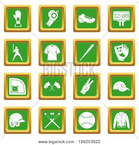 Baseball icons set in green color isolated vector illustration for web and any design