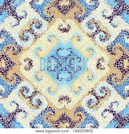 Seamless background pattern. Irregular decorative geometric mosaic art tile pattern from uneven broken pieces.