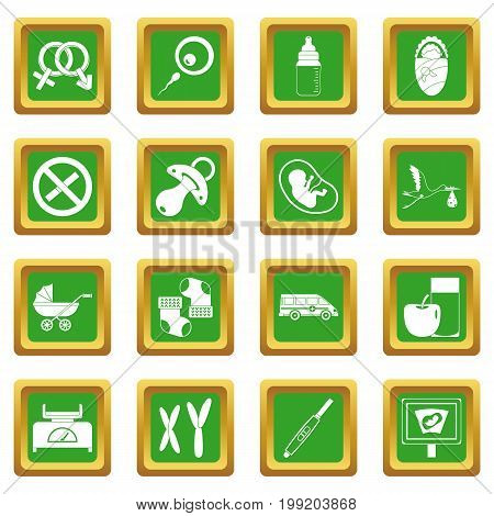 Pregnancy symbols icons set in green color isolated vector illustration for web and any design