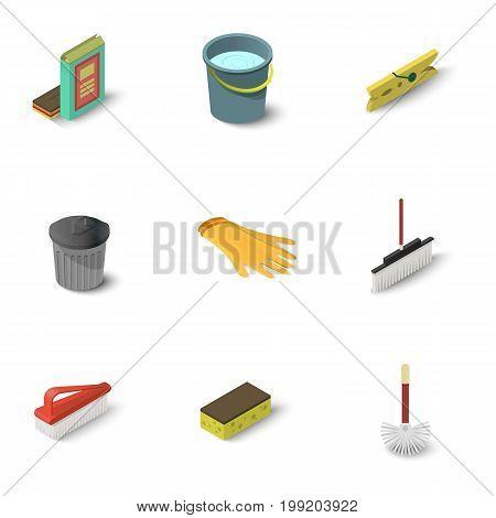 Cleaning equipment icons set. Isometric set of 9 cleaning equipment vector icons for web isolated on white background