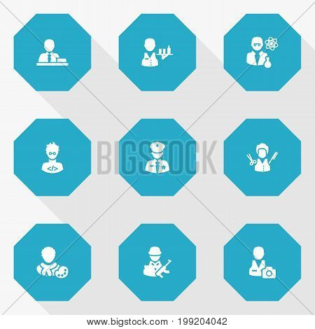 Collection Of Cameraman, Actor, Officer And Other Elements.  Set Of 9 Position Icons Set.