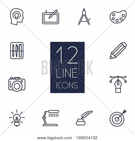 Collection Of Target, Drawing Tools, Idea And Other Elements.  Set Of 12 Constructive Outline Icons Set.