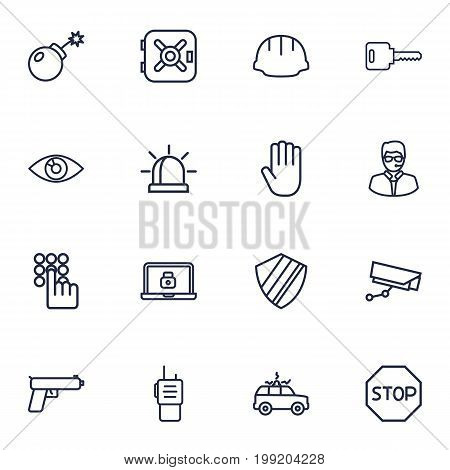 Collection Of Alarm, Safe, Helmet And Other Elements.  Set Of 16 Safety Outline Icons Set.