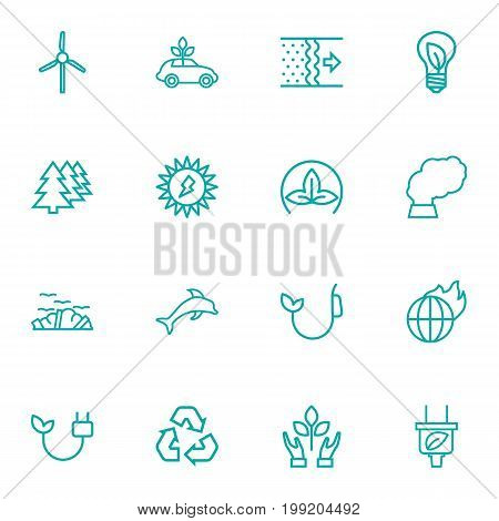 Collection Of Dolphin, Wind Turbine, Solar And Other Elements.  Set Of 16 Ecology Outline Icons Set.