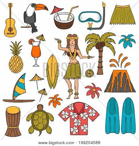 Vector Hand Drawn Hawaii Icons