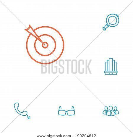 Collection Of Handset, Target, Magnifier Elements.  Set Of 6 Management Outline Icons Set.