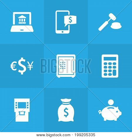 Collection Of Piggy Bank, Judge, Terminal And Other Elements.  Set Of 9 Finance Icons Set.