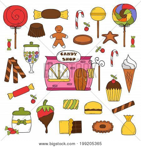 Vector Hand Drawn Candy Chop Icons