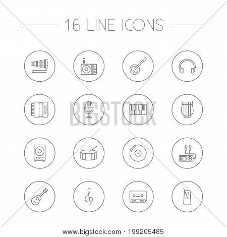 Collection Of Pace, Harmonica, Loudspeaker And Other Elements.  Set Of 16 Music Outline Icons Set.