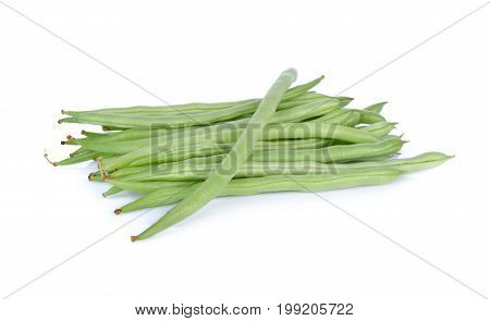 pile of fresh french beans on white background