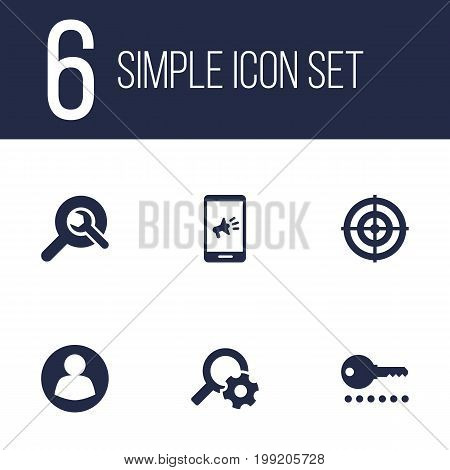 Collection Of Engine, Search, Dartboard And Other Elements.  Set Of 6 Search Icons Set.
