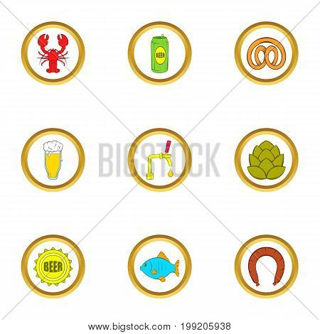 Beer snacks icons set. Cartoon set of 9 beer snacks vector icons for web isolated on white background
