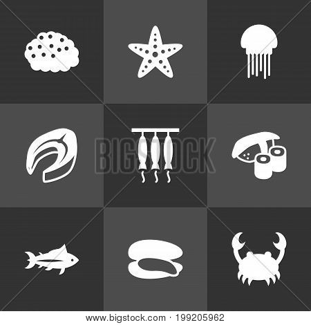 Collection Of Japanese Roll, Tunny, Lobster And Other Elements.  Set Of 9 Seafood Icons Set.
