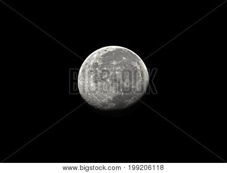 Waning Gibbous moon Isolated on Black Sky