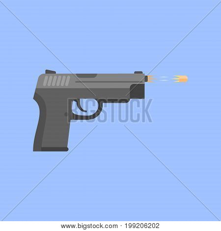 Gun firing bullet isolated on blue background. Pistol shot. Flat style vector illustration.
